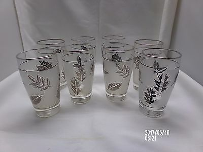 """8 Vintage Libbey Silver/ Frosted Maple Leaf Glasses 5 1/4"""" Tall"""