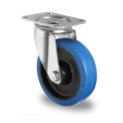 Lenkrolle Blue Wheels 80 mm Rolle Rad,Gummi Elastik
