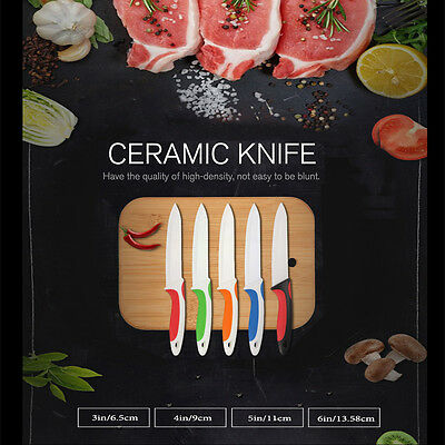 Ceramic 3-6 Inch Kitchen Knives Paring Fruit Peeler Vegetable Set Cutlery