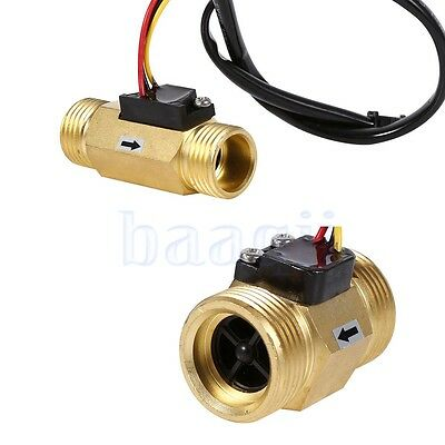 "G3/4"" Copper Liquid Water Flow Sensor Switch Flowmeter Meter FA"
