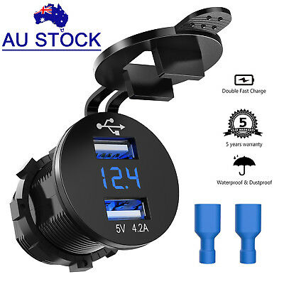 12V 24V Car Truck Motorcycle Dual USB Charger + Digital LED Volt Voltmeter Meter