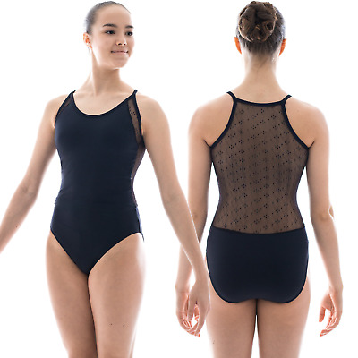 BASILICA DANCEWEAR LINDA OPEN BACK BLACK LACE BALLET DANCE LEOTARD XS-XL BAW0273