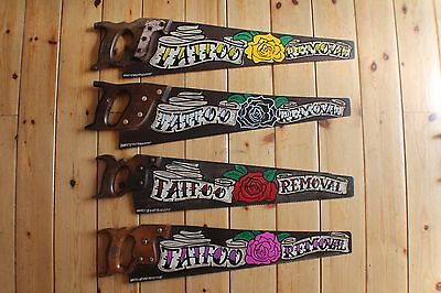 Gypsy Art Tattoo Removal Rusty Vintage Saw Sign Plaque VW Bar Shop Barber