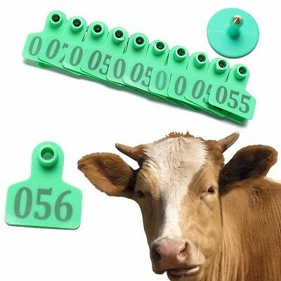 100pc Green Number Animals Cattle Cow Goat Pig Sheep Ear ID Tag Livestock Labels