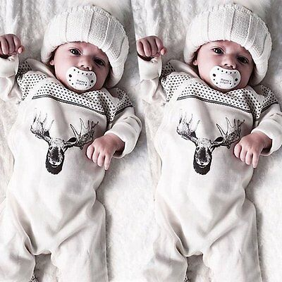 Newborn Toddler Baby Boys Girls Cotton Rompers Bodysuit Jumpsuit Clothes Outfits