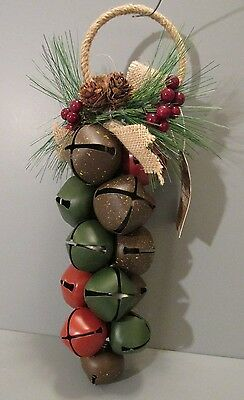 "2014 Hallmark ""Jingle Bells"" Door Hanger with Pine Cones and Berries"