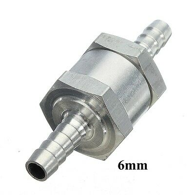 6mm 1/4''  Fuel Non-Return One Way Check Valve Petrol Diesel Oil Water Aluminum