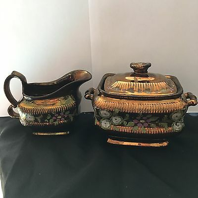 Victorian Copper Lusterware cream pitcher and lidded sugar bowl 1800