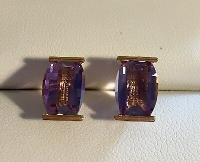 14k Yellow Gold Amethyst Earrings 7x11mm 2 Grams