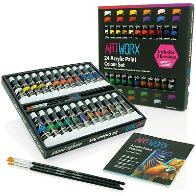 Artworx Artists High Viscosity 24 Colours x 12ml Thick Acrylic Paint Tube Set