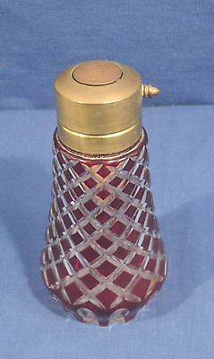 Antique Cranberry Cut to Clear Bohemian Glass Perfume Bottle Atomizer Victorian