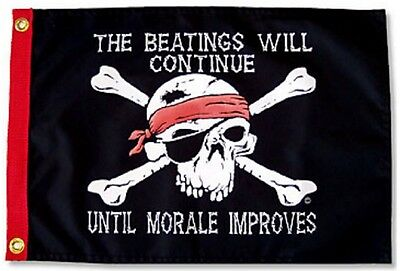12x18 The Beatings Will Continue Until Morale Improves Pirate Flag Made in USA