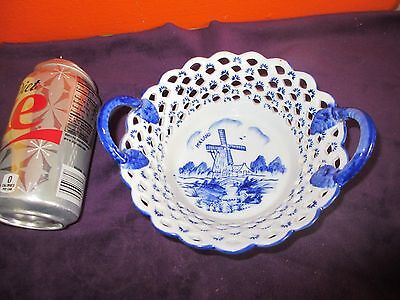 DELFT BLUE E H Handpainted BOWL with Handles BLUE & WHITE with WINDMILL Holland