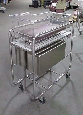 American Hospital Supply Stainless Steel Bassinet Cart USED