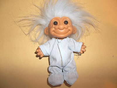 Russ Troll Doll in Light Blue PJ's with Matching Light Blue Hair
