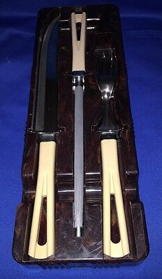 Vintage Carving Set Stainless Knife Fork and Sharpener w Storage Tray