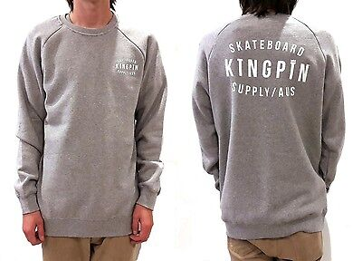 KINGPIN Skate Supply Crew Retro Grey Skateboard Jumper Sweater Pullover