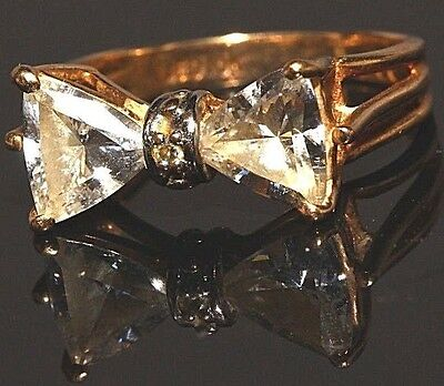 vintage 10k yellow gold bowtie bow clear stone women's ring size 3