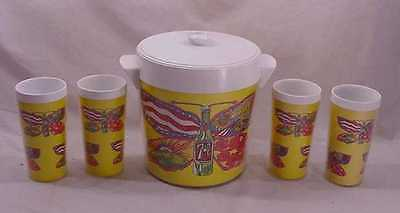 Rare Psychedelic  7-Up Butterfly Peter Max Ice Bucket And 4 Tumblers
