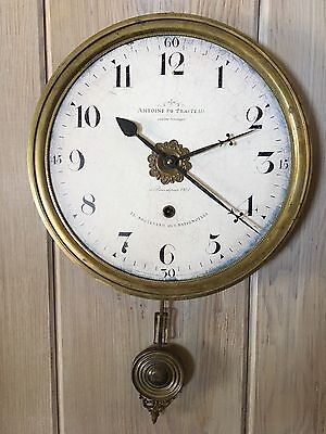 TimeWorks Large Heavy Brass Antiqued Wall Pendulum Clock