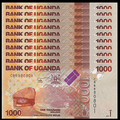 Lot 10 PCS, Uganda 1000 (1,000) Shillings, 2017, P-49e New, UNC