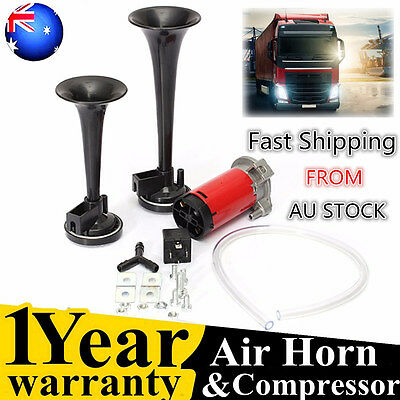 12V 178DB Dual Trumpet Air Horn Horns Super-loud For Truck RV Car Train black AU