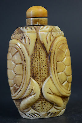 China Collectible Decor Old B0ne Carve Double Animal Statue Snuff Bottle