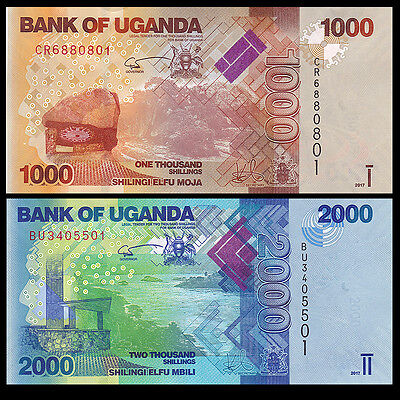 Uganda SET 2 PCS, 1000+ 2000 Shillings, 2017, P-49 50 , UNC