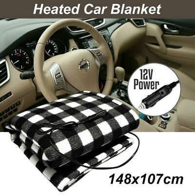 Electric Heated Soft Fleece 12V Volt Car Blanket Travel Throw Rug Caravan AU