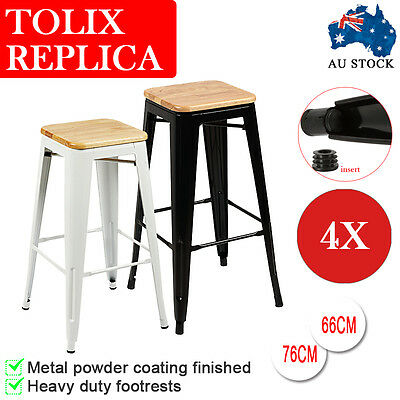 4pcs Tolix Bar Stool 76cm/66cm Seat Kitchen Bar Metal Chair Bamboo Bench Metal