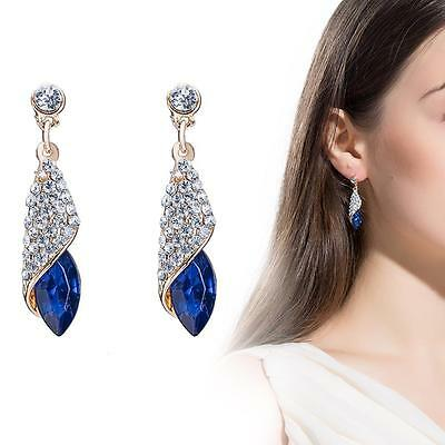 Elegant Sterling Women Wedding Crystal Drop Rhinestone Ear Stud Earrings Blue GH