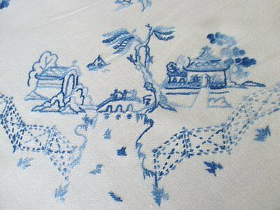 Vintage Tablecloth-Hand Embroidered Willow Pattern