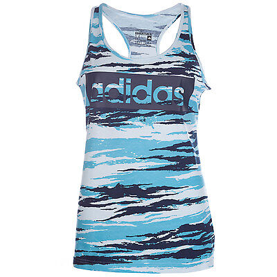 Womens adidas Womens Essentials Linear Allover Print Tank Top in Blue - 16-18
