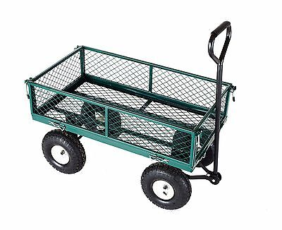 Heavy Duty Metal Truck Trolley 4 Wheels Wheelbarrow Trailer Garden Cart