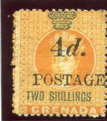 Grenada 1888 QV 4d on 2s orange & green MLH. SG 42. Sc 32a.