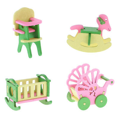 Baby Wooden Furniture Dolls House Miniature for Kids Child Pretend Play Toys