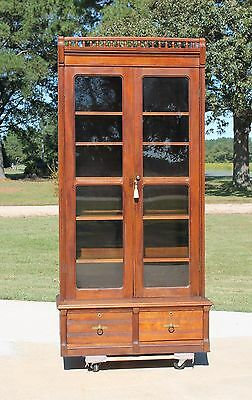 Tall Walnut Victorian Stepback Bookcase with Spindle Gallery & Key c1880's