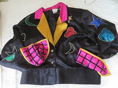 NEW WAVE Vintage 80s MEMPHIS Jacket Black Satin Colorful Touches Sequin Shapes M