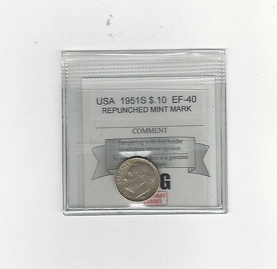 **1951S** USA, Ten Cent Dime, Repunched Mint Mark