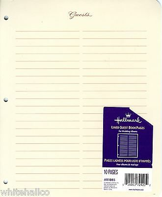 Hallmark 3-Ring Wedding Album Baby Book Guest Creme Guests Pages Refill AR1085