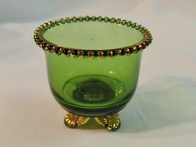 EAPG ~ U.S. Glass ~ Colorado Pattern ~ Green w/ Gold Trim ~ Toothpick Holder