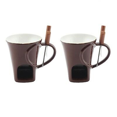 Set of 2 Fondue Chocolate Warmer Dessert Ceramic Set with Stainless Steel Forks