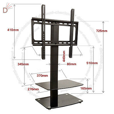 Universal Table Top TV Stand DVD Bracket Glass Pedestal LCD LED VESA Mount UKDC