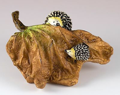 "Hedgehogs Hide & Seek On Leaf Figurine 3.75"" Long Resin New In Box!"