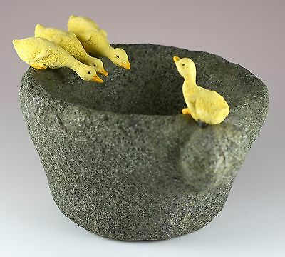 """Baby Ducks On Functional Stone Flower Pot Resin Figurine 6.5"""" Wide New In Box!"""