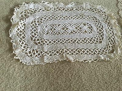 Antique Set of  2 Bobbin Lace Table  Placemats  White Linen Vintage
