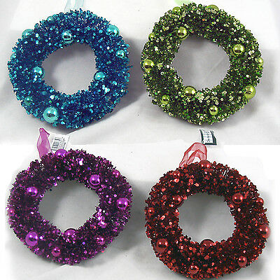 """Jewel Tone Sparkling 6"""" Candle Ring Wreaths CHRISTMAS Set of 4 NEW"""