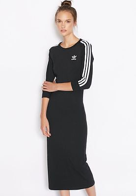 2016Adidas Originals WOMEN BLACK 3-STRIPES DRESS AY5251 Midi Bodycon Figure Fit