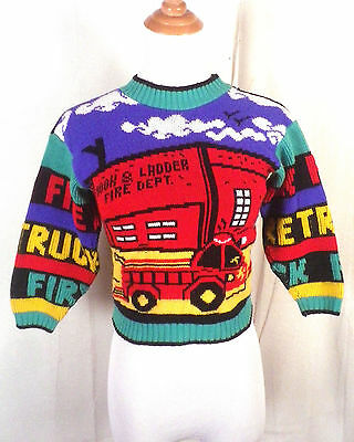 vtg 80s Hot Cashews loud Kids Fire Fighters Truck Department Knit Sweater sz XS