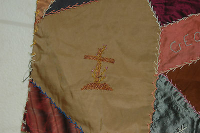 Antique Crazy Quilt Block Colorful Embroidered Stitching 15 x 16
